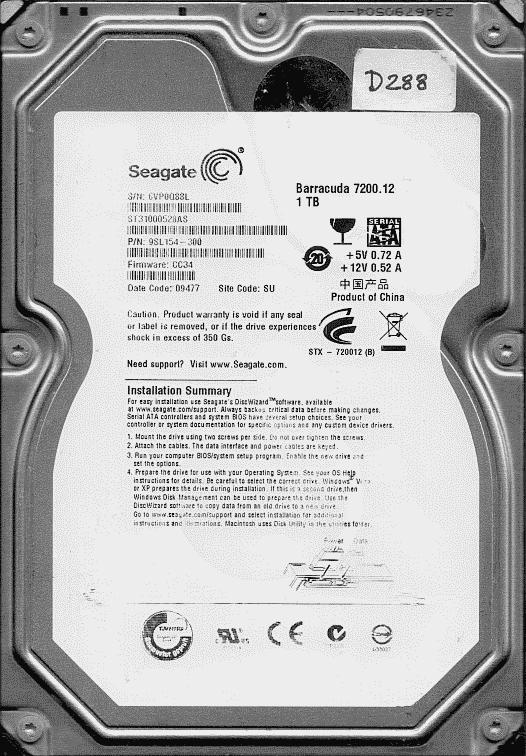 ST31000528AS, P/N 9SL154-300, Seagate 1TB 3 5'' SATA hard drive